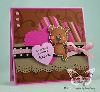 AmyR Stamps Friend Bear Heart Card by AmyR