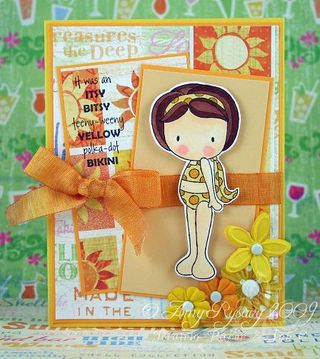 CCD Sugarplums Beach Yellow Bikini Card by AmyR